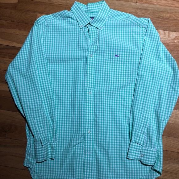 e2dba3e793ce Vineyard Vines Light Long Sleeve Green Check Shirt.  M 5a9336b19d20f05814719555